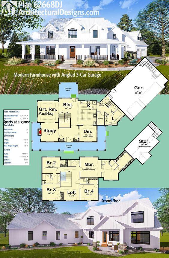 Plan 62668DJ Modern Farmhouse with Angled