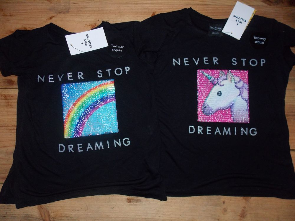 Primark Girls UNICORN RAINBOW T Shirt Tee Top BRUSH SEQUINS NEVER STOP  DREAMING e050e77c5ef9