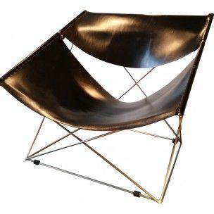"""Fauteuil """"F675"""" en cuir et métal Pierre PAULIN 1963"""