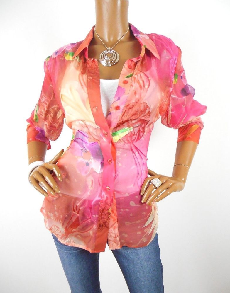 163f937e71d4a CHICO S Sz 2 Womens Top M L SILK Blouse Summer Shirt Floral Sheer Button  Down  Chicos  Blouse  Casual