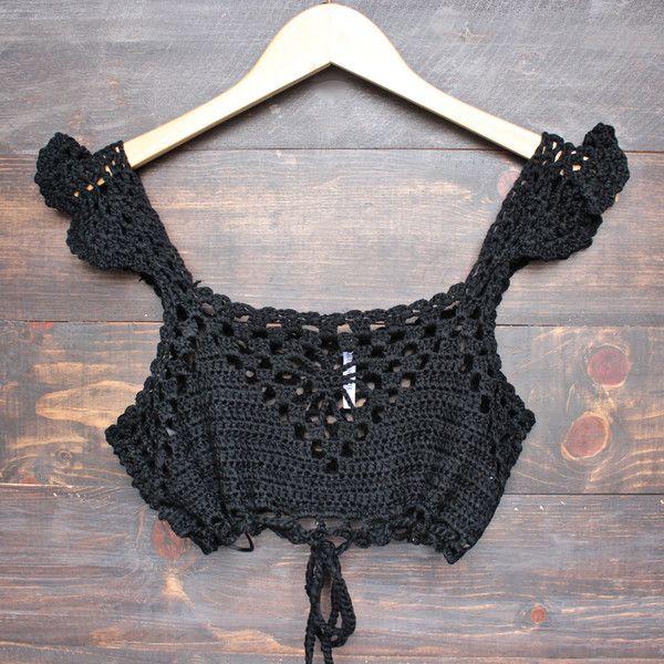 Next morning crochet bralette - black   Tejido, Blusas y Ganchillo