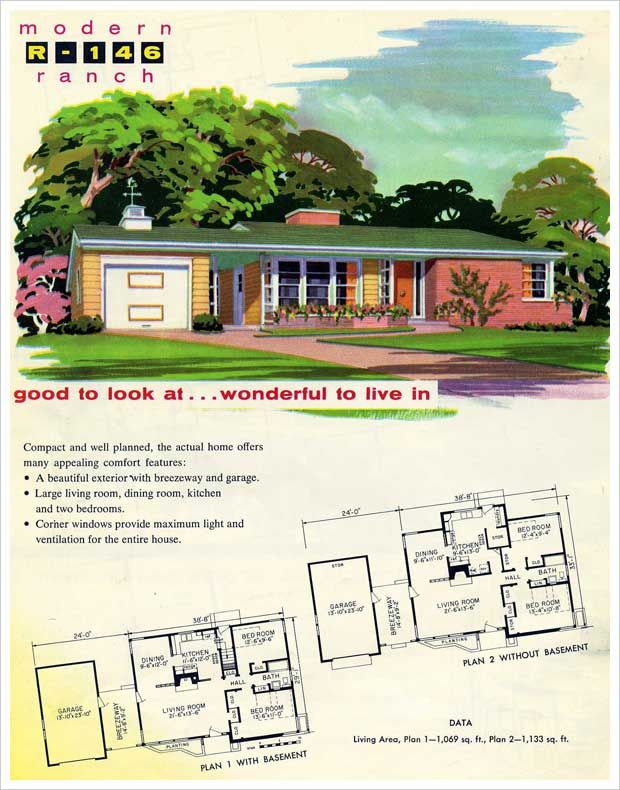 vintage house plans nothing better than a 1950s ranch style - 1950s Modern House Floor Plans
