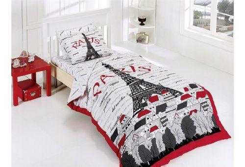 New Cotton 3pcs Paris Red Single Twin Size Duvet Quilt Cover Set ...