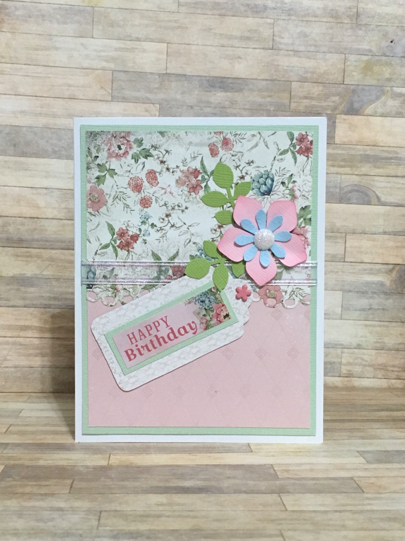 Greeting Card Handmade Card Birthday Card Occasion Card Pink