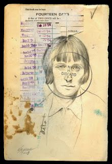 Natalie Schorr - drawing on old library books