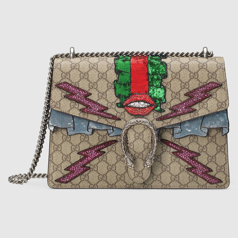 e8af22263fe6 The bag equivalent of a sexy-ugly guy. Gucci's Dionysus GG Supreme  embroidered bag.