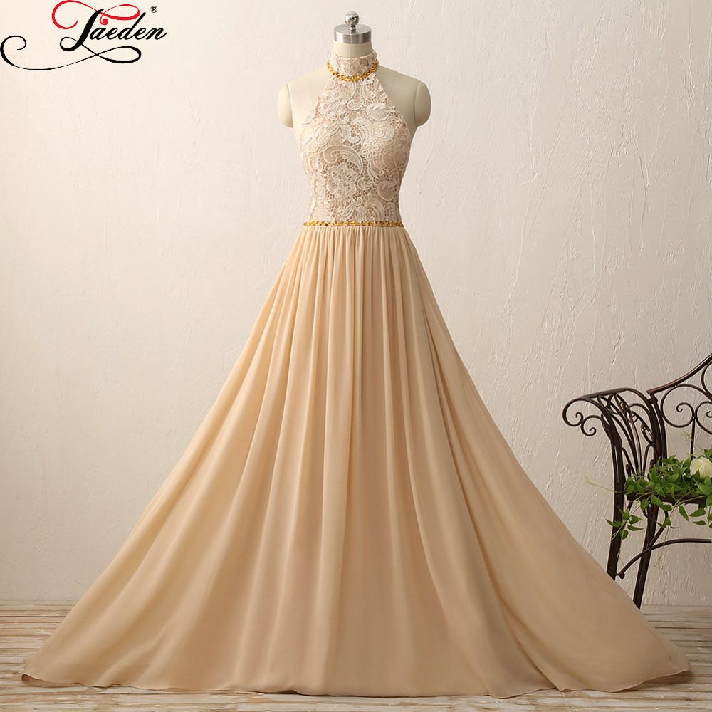 Jaeden high neck long evening dresses champagne lace chiffon sexy