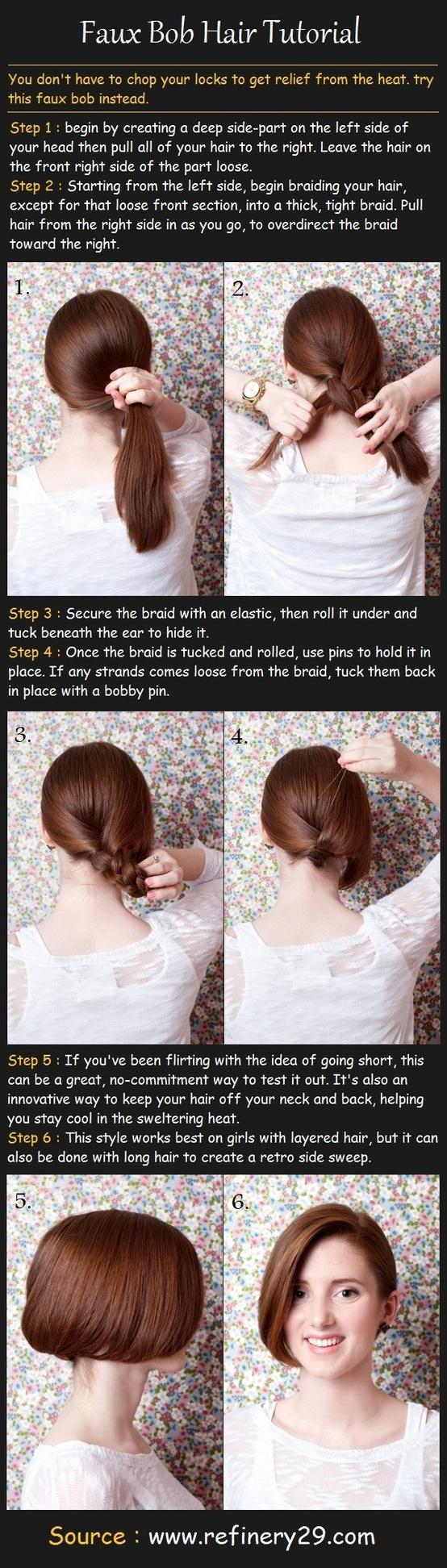 Faux Bob Hair Tutorial Hairstyles How To Hair Tutorial Bob Hairstyles Long Hair Styles