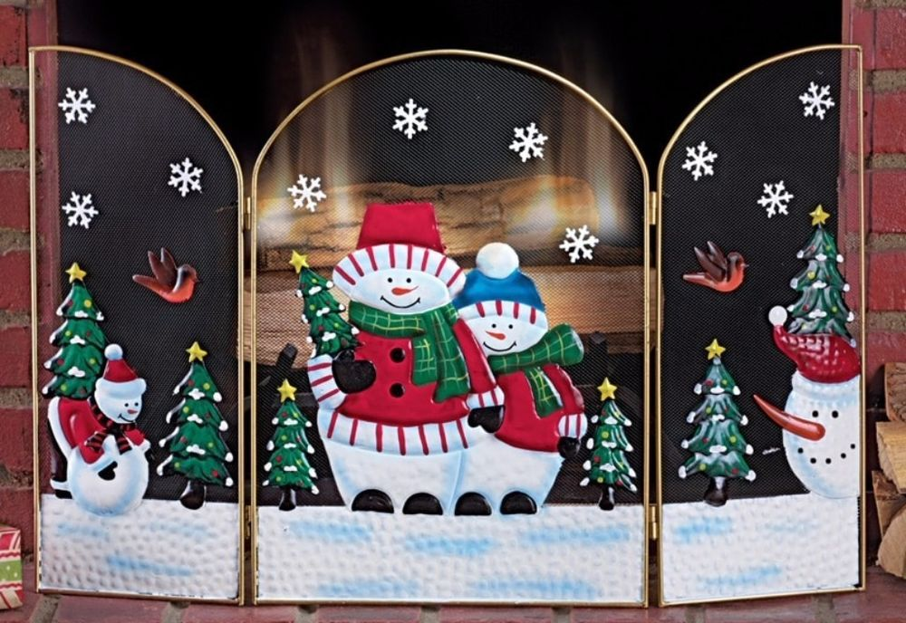 Christmas Fireplace Screen.Details About Metal Tri Fold Holiday Christmas Fireplace