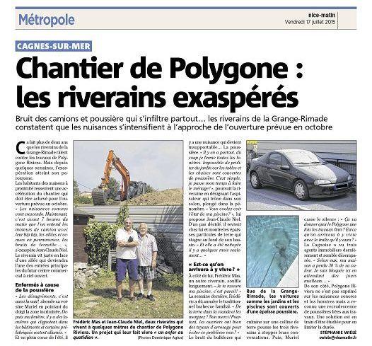 17.07.2015: Chantier de Polygone : les riverains exaspérés - NM