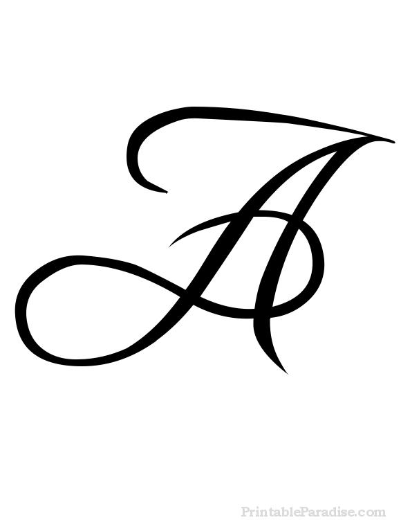 A In Cursive : cursive, Printable, Letter, Cursive, Writing, Fancy, Cursive,, Letters, Fancy,