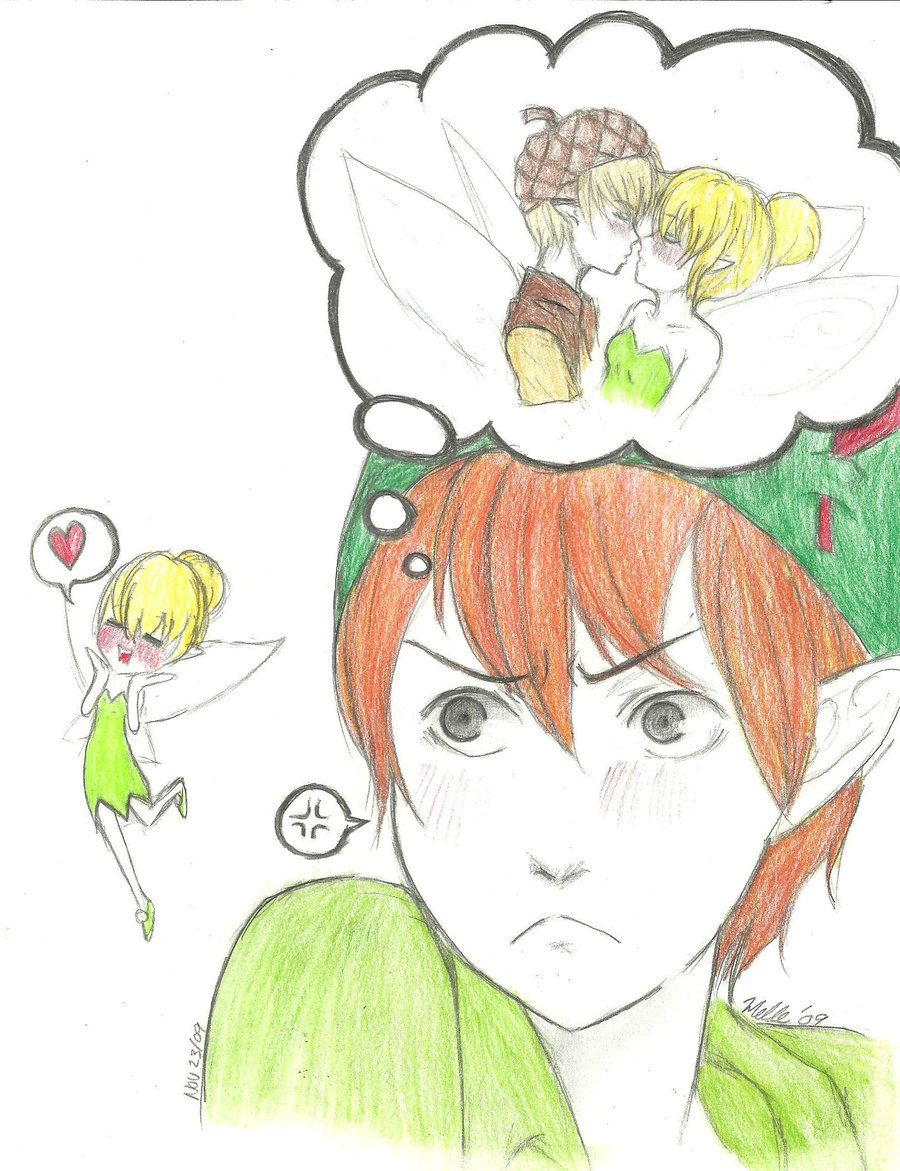 Peter Pan And Tinkerbell Kissing Peter Pan Is Jealous By