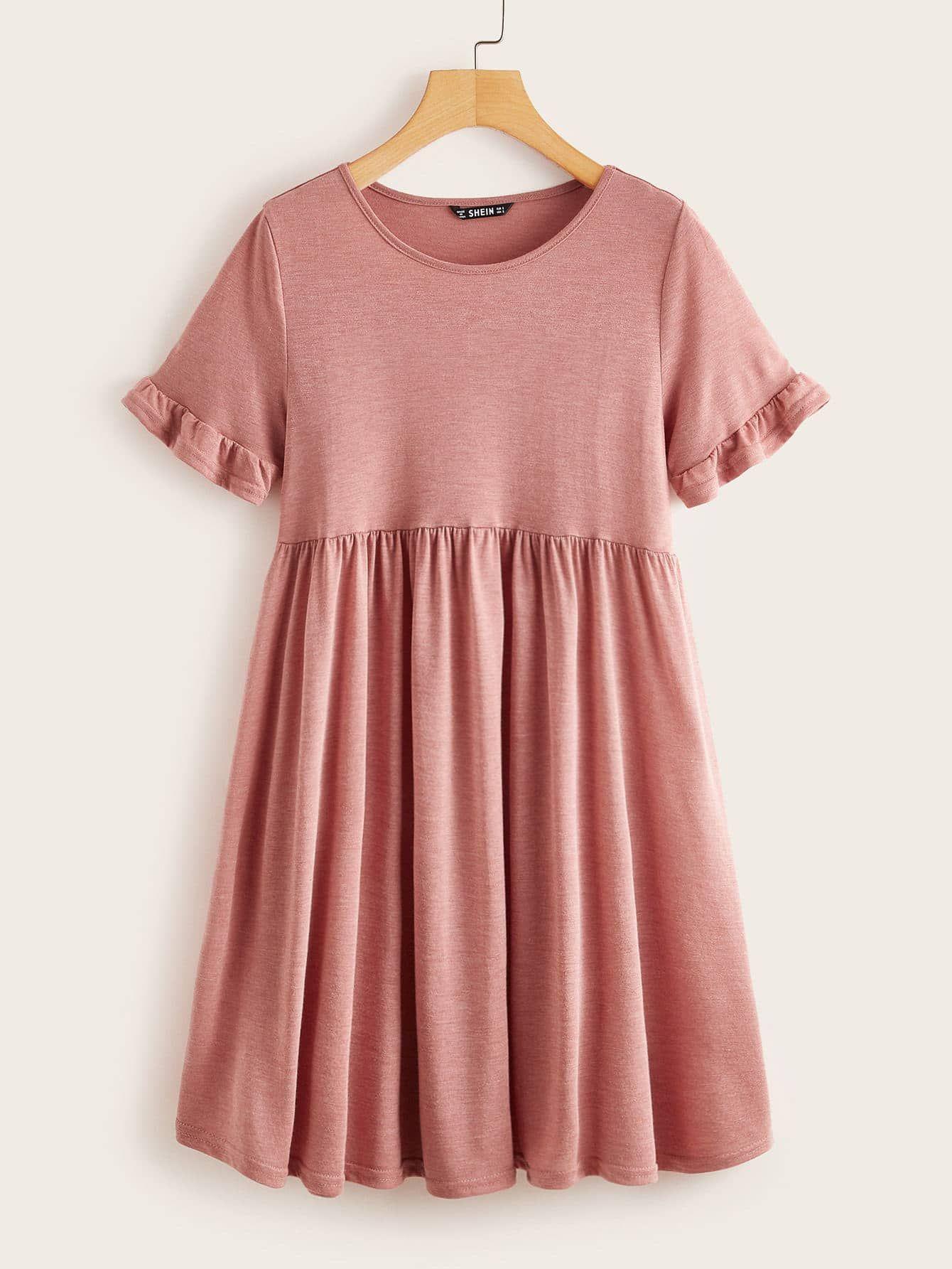Shein Heather Knit Ruffle Cuff Smock Dress Xl Red Smocked Clothes Smock Dress Women S Fashion Leggings [ 1785 x 1340 Pixel ]