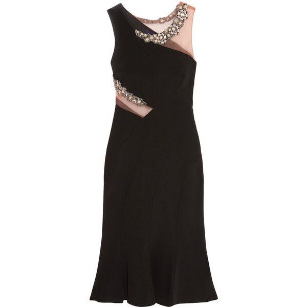 Marchesa Notte - Embellished Tulle-trimmed Crepe Dress (€295) ❤ liked on