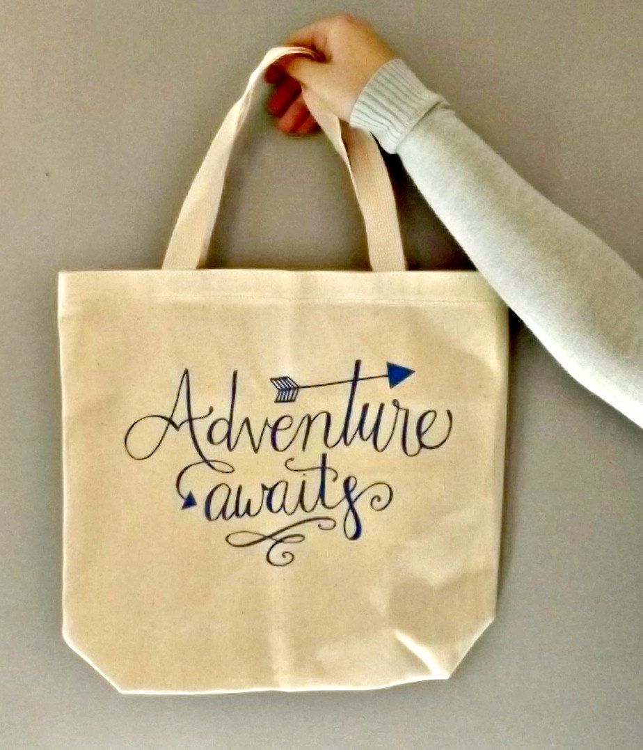 ONLLY $15.00 Adventure Awaits canvas tote bag// market bag// cotton canvas// bags// grocery bag// cheap tote bag//reusable tote bag// Eco friendly//quote by PinkElephantDesignCA on Etsy