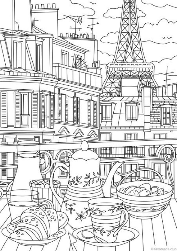 Paris Printable Adult Coloring Page From Favoreads Coloring