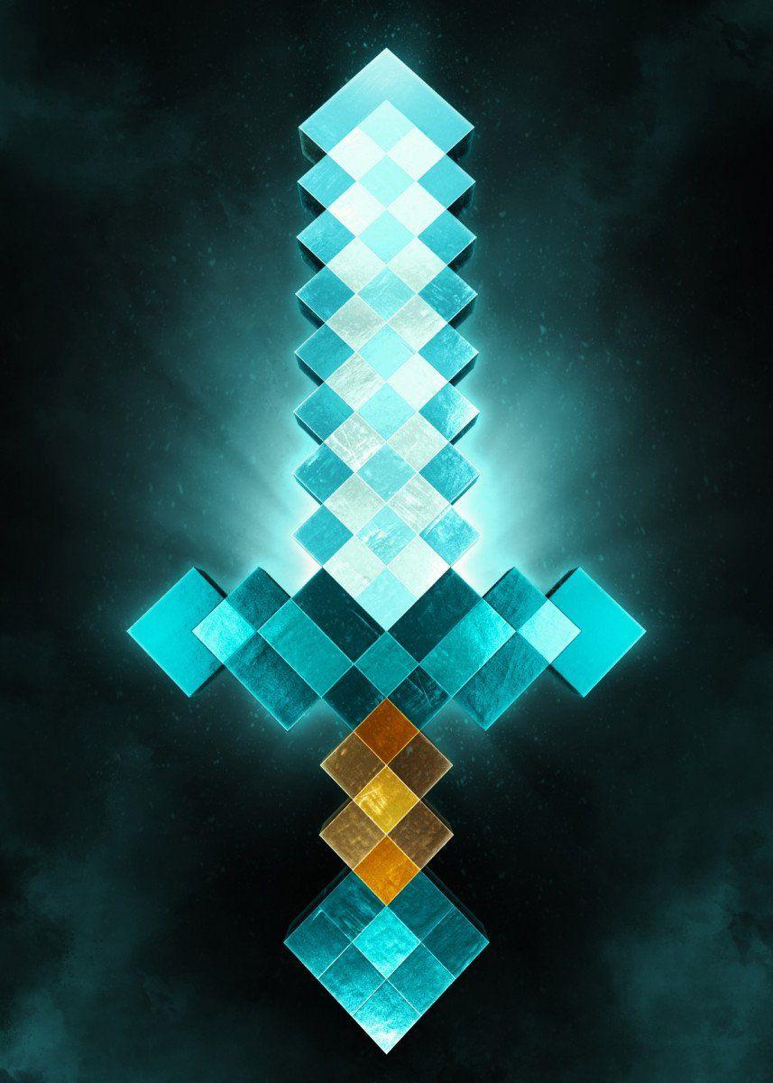 Minecraft 3d Sword Fantasy Poster Print Metal Posters Displate Papel De Parede Minecraft Herobrine Wallpaper Skins Para Minecraft