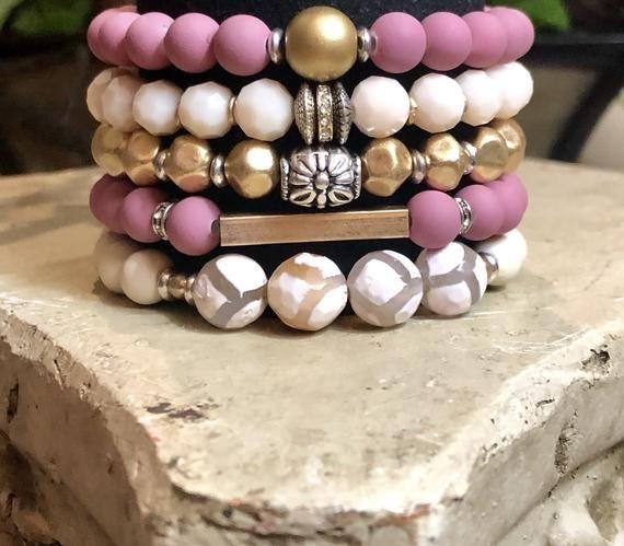 Gemstone Bracelet Set of 5 Boho Jewelry Chunky Elastic | Etsy #gemstonejewelry