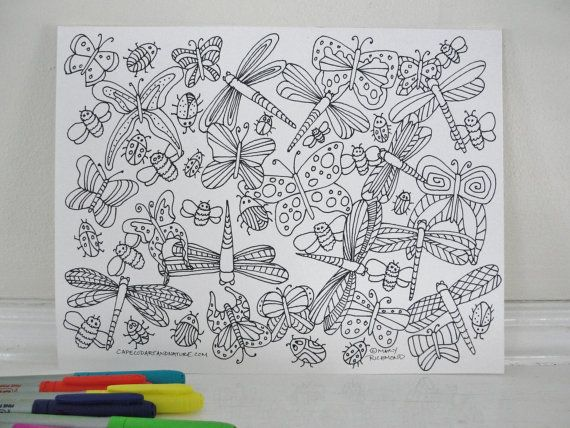 Colouring Pages Pdf For Adults : Printable coloring page dragonfly and butterfly coloring page for