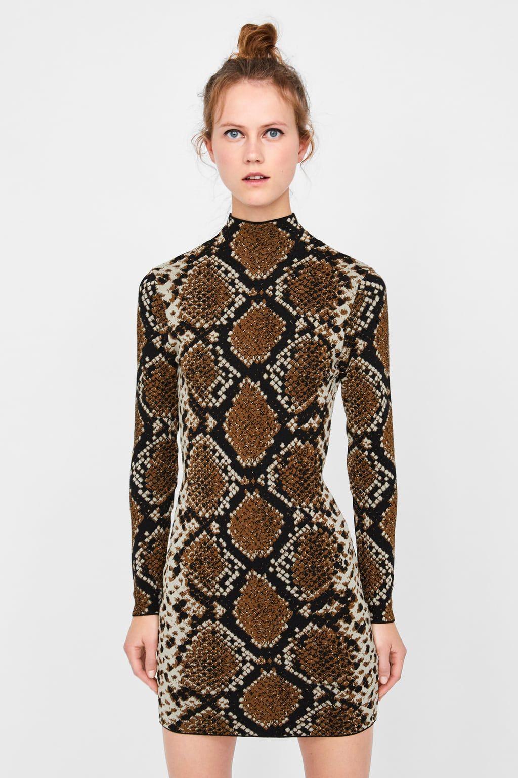 7f69caf877a15c Image 4 of SNAKESKIN PRINT JACQUARD DRESS from Zara