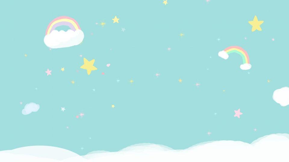 كرتون نجوم السماء قوس قزح مواد أساسية Latar Belakang Latar Belakang Pastel Pelangi