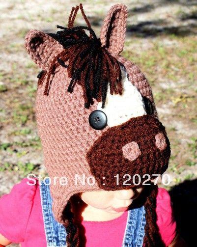 Free Shipping Infant Childrens Crochet Horse Hat Newborn Photo