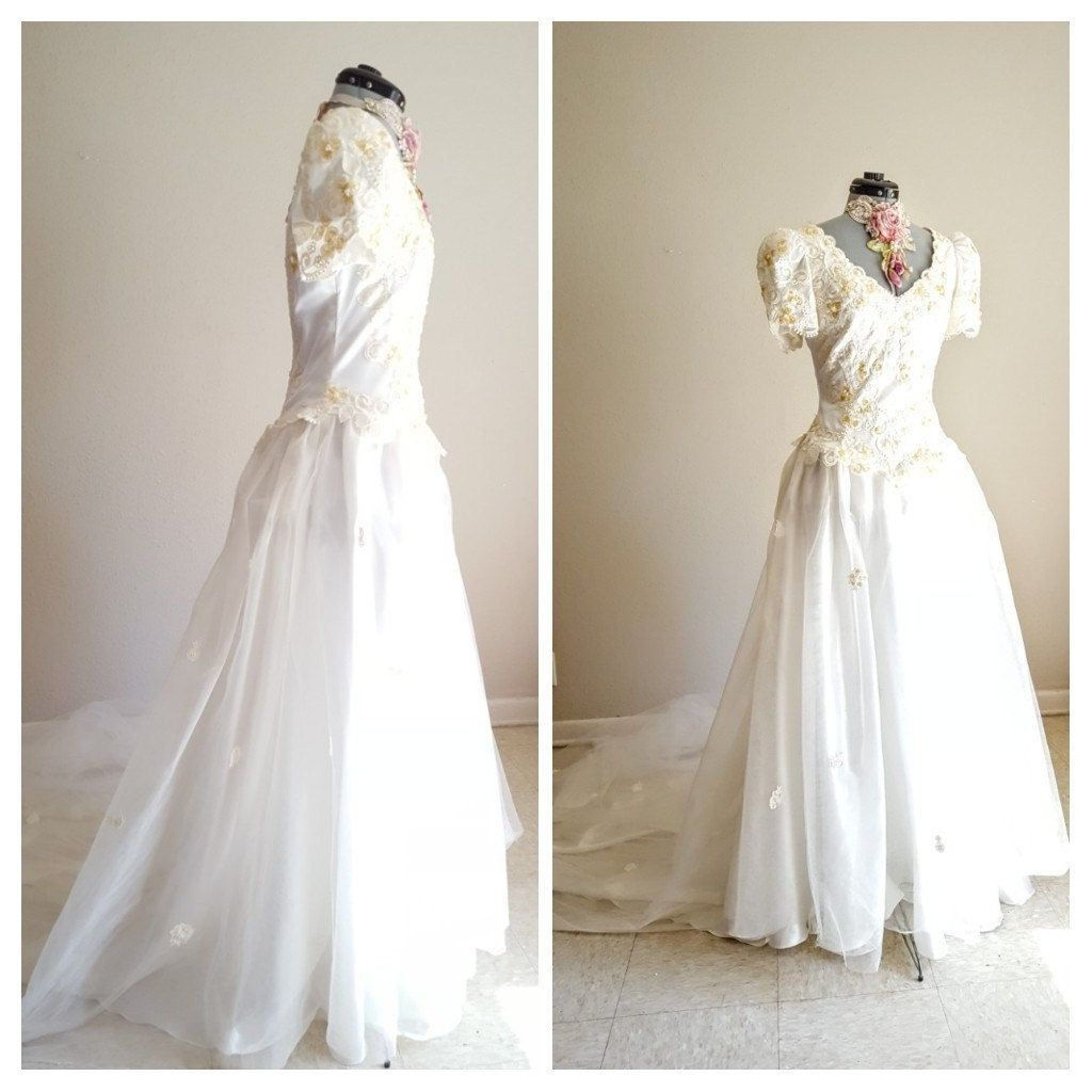 Wedding gown long train heavy embroidery sequins pearls drop