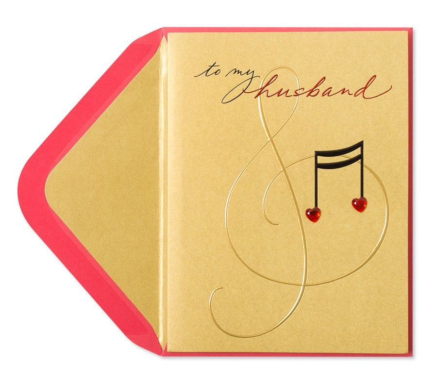 Gem Heart Music Notes Card For Husband Music Notes Note Cards