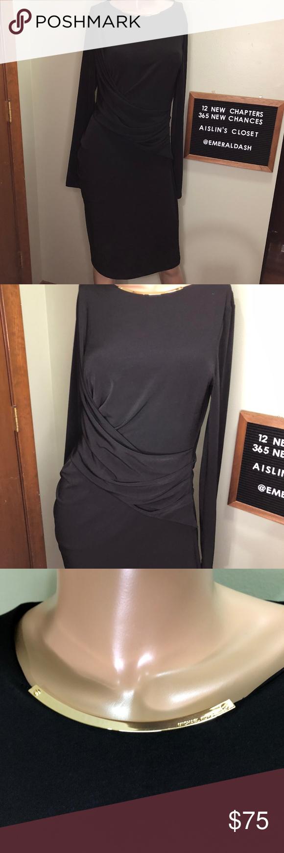 Michael Kors Black Midi Dress With Gold Accent Black Midi Dress Michael Kors Black Michael Kors Dresses [ 1740 x 580 Pixel ]