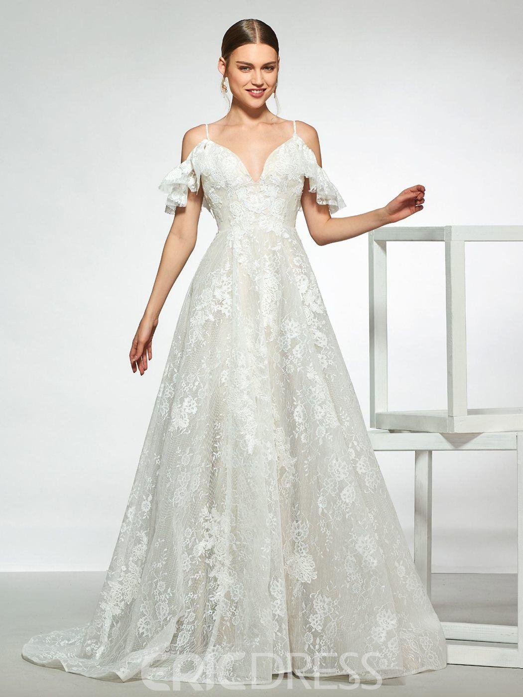 Spaghetti Straps Lace Cold Shoulder Wedding Dress Simple