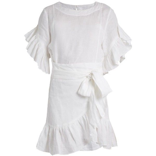 Isabel Marant Étoile Delicia ruffled linen mini dress (£340) ❤ liked on  Polyvore