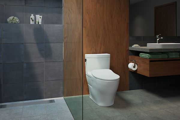 Charcoal Stone And Dark Wood Give This Space A Clean And Modern Look Masculine Bathroom Design Washlet One Piece Toilets