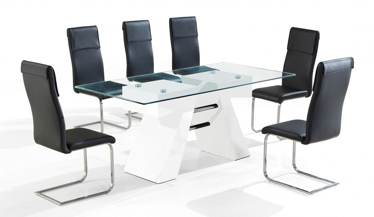 The Reno High Gloss Range Is A Unique Offering With A High Gloss Table Base  And Glass Top Finish. This Set Comes With Matching Chairs Finished In  Synthetic ...