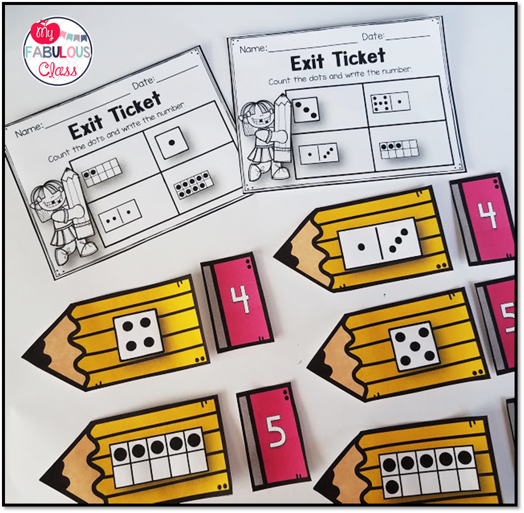 Kindergarten Back To School Math Centers Printables Exit Tickets