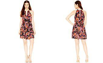 GUESS Cutout Floral-Print Dress