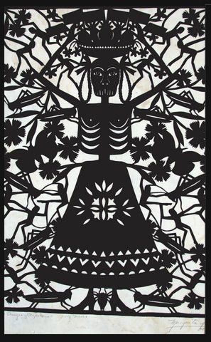 The beautiful papel picado of traditional paper artist Margarita Fick, Mexico, a good friend of my Dad's. Had a wonderful private workshop with her camping one summer. Paper cutting art in the forest - beautiful time. :)