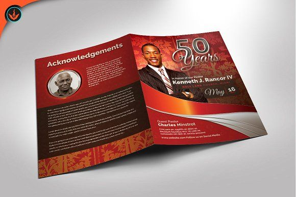 Crimson Pastors Anniversary Program Brochure Template Brochures
