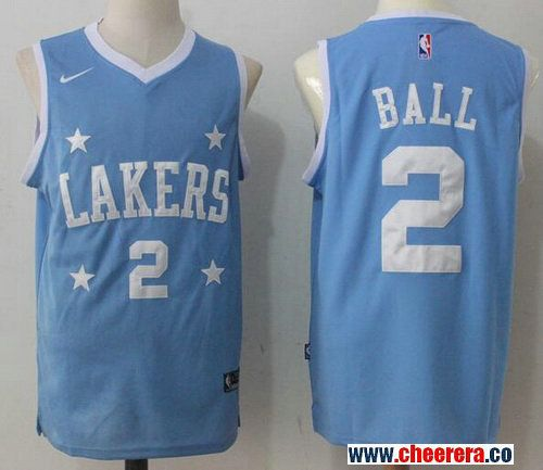 b1c0e3591b9 Men s Los Angeles Lakers  2 Lonzo Ball Light Blue Stars 2017-2018 Nike  Swingman Stitched NBA Jersey
