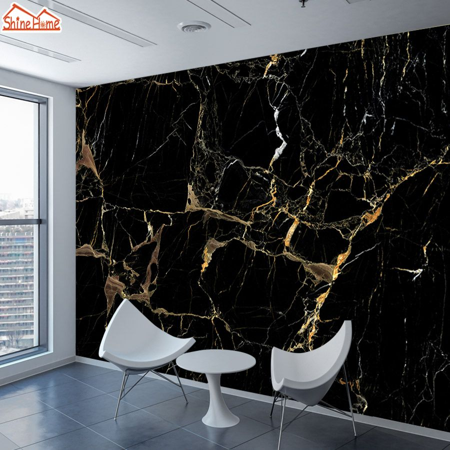 8d Silk Black Gold Marble Mural Photo Wallpaper 3d Contact Wall Paper Papers Home Decor Wa Black And Gold Marble Wallpaper Living Room Marble Wallpaper Bedroom