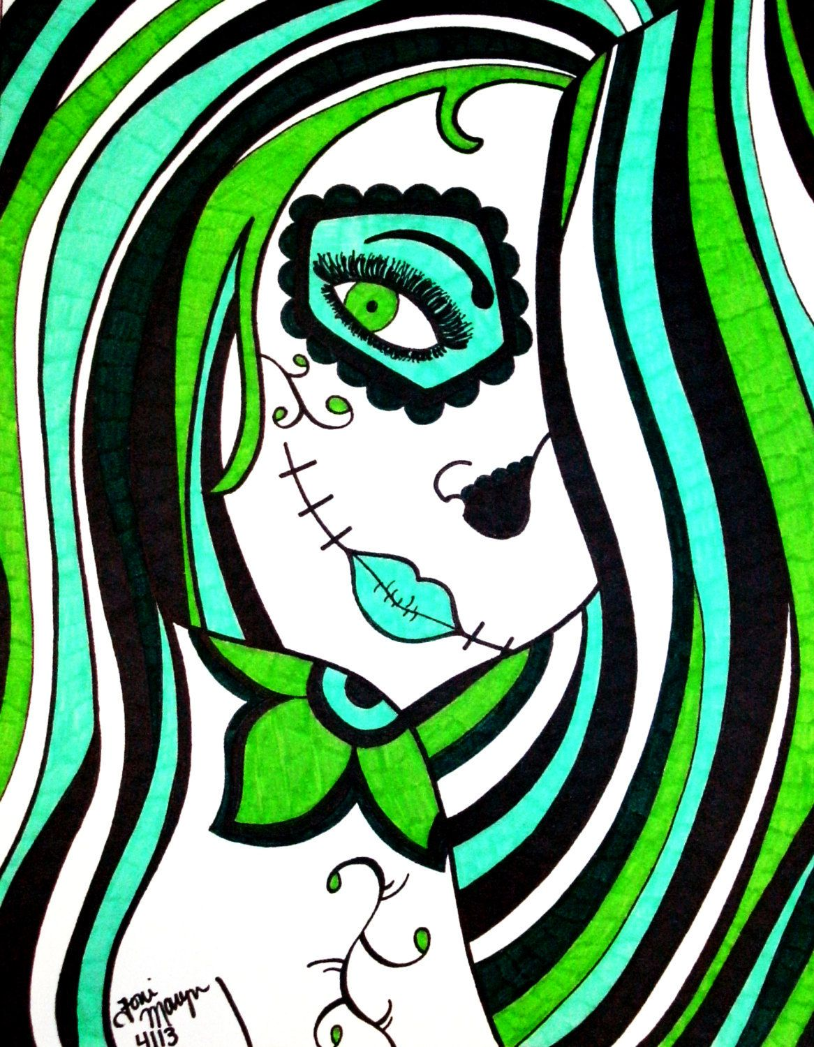 Green Sugar Skull Girl, 8x10 Inch Print, Sugar Skull Print, Dia De Los Muertos, Day of the Dead Art, Alternative Wall Decor, Sugar Skull Art