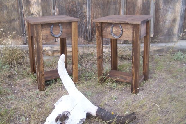Rustic Western End Table With Horse Shoe Accent By TangleRidge, $110.00 |  Home Style | Pinterest