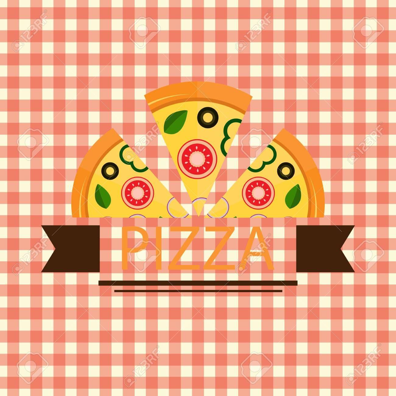 Pizza Three Piece Brown Ribbon Logo Vector , Sponsored,