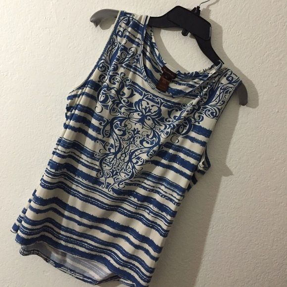 Blue and cream color top. Only wore it once! Tops