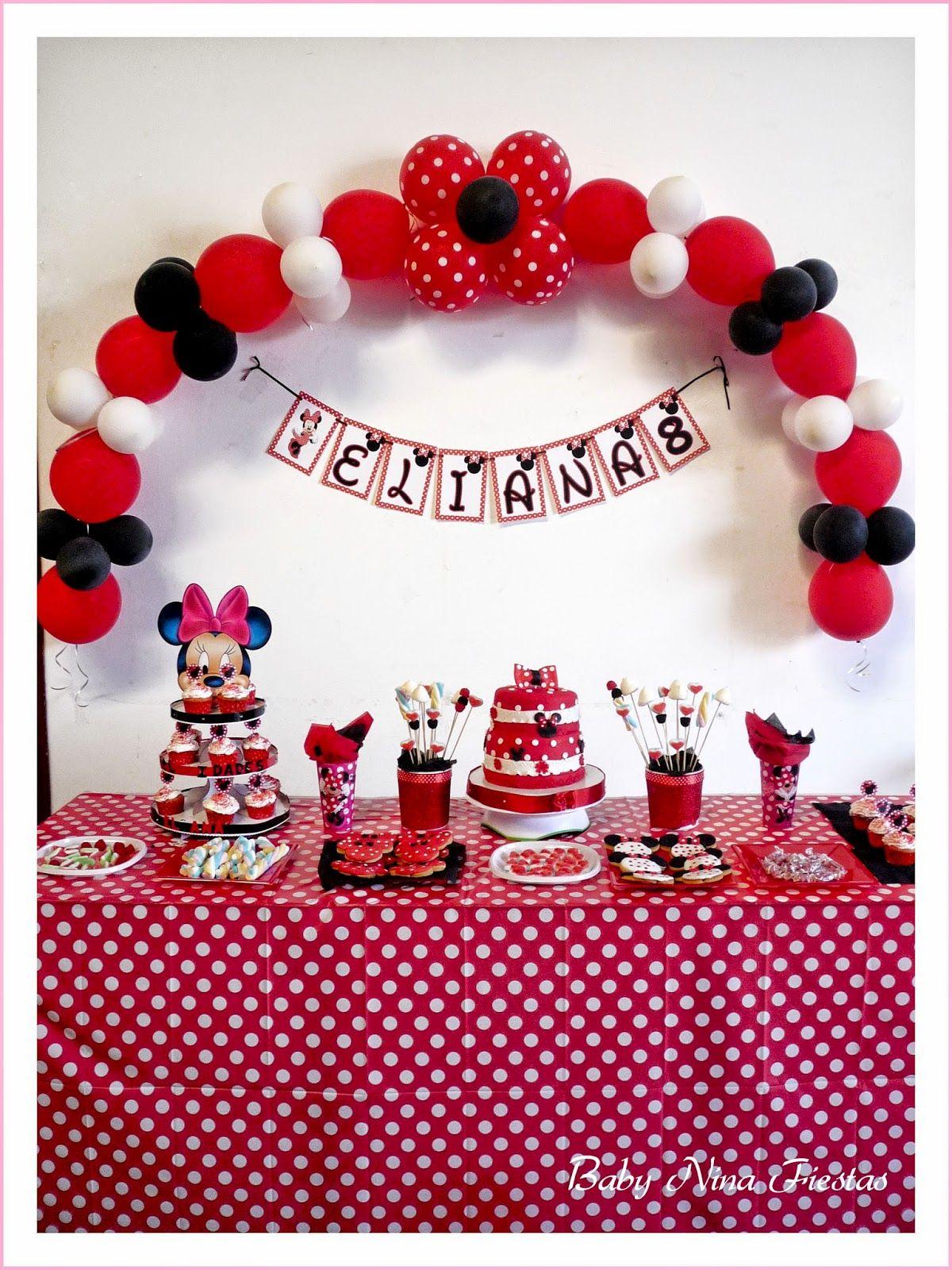 Baby nina fiestas decoraci n para el cumple minnie mouse - Decoracion primer cumpleanos ...