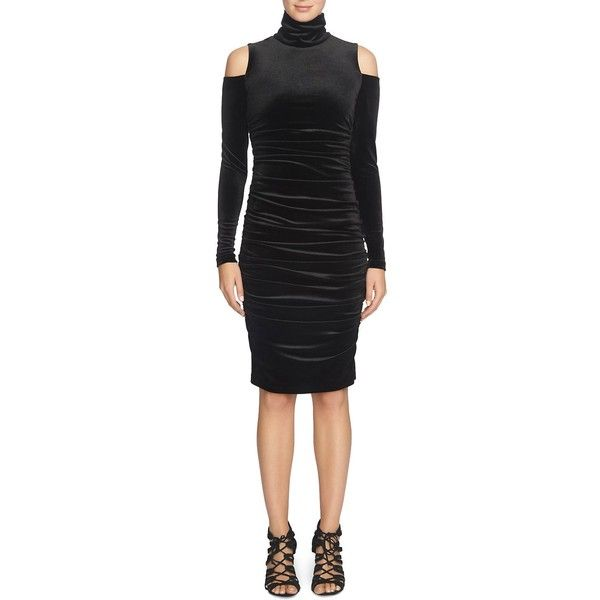 Cynthia Steffe Macie Velvet Cold Shoulder Dress ($210) ❤ liked on Polyvore featuring dresses, rich black, party dresses, velvet cocktail dress, little black party dress, cocktail party dress and night out dresses
