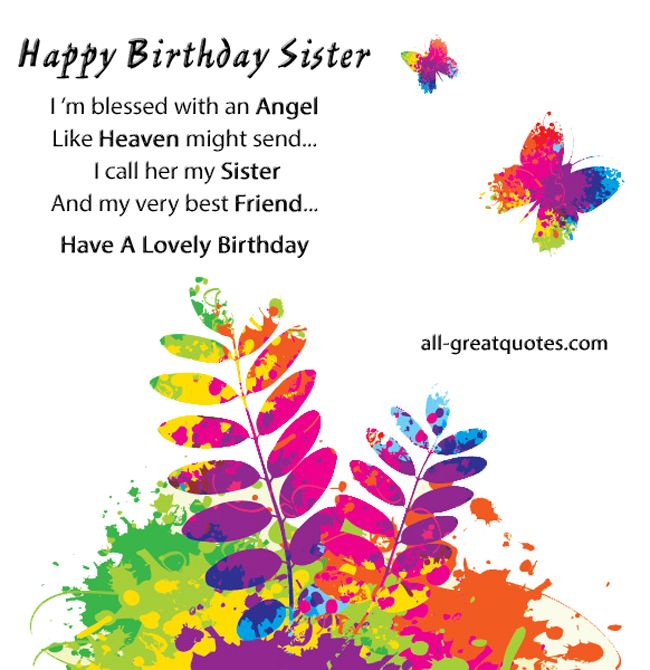 sister birthday quotes – Happy Birthday Card for My Sister