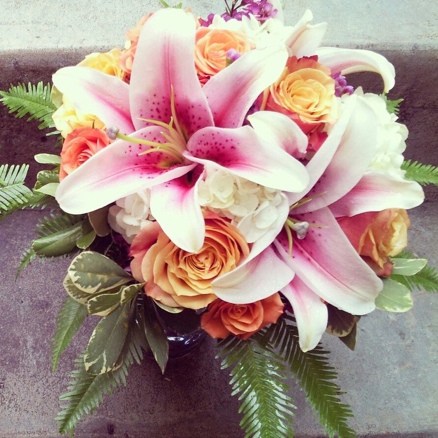 Pink Stargazer Lilies Coral Bicolor Roses Orange Rose Sprays And