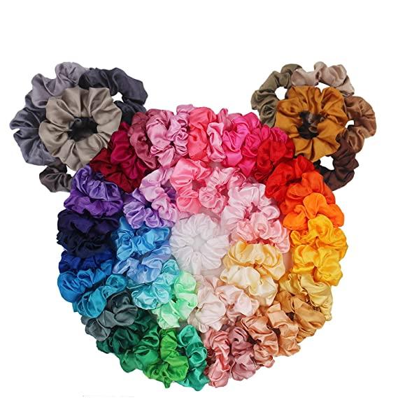 Women/'s Satin Design Hair Scrunchies Girls Hair Ties Ponytail Holder Multicolor