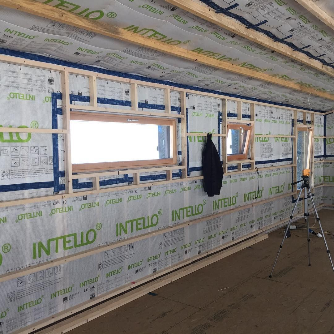 Beartoothpassivehouse 2 5 Service Cavity Installed Ready For Interior Walls I Ripped 16 20 2x6s Lumber Insulation Thickness Installation Wall Systems