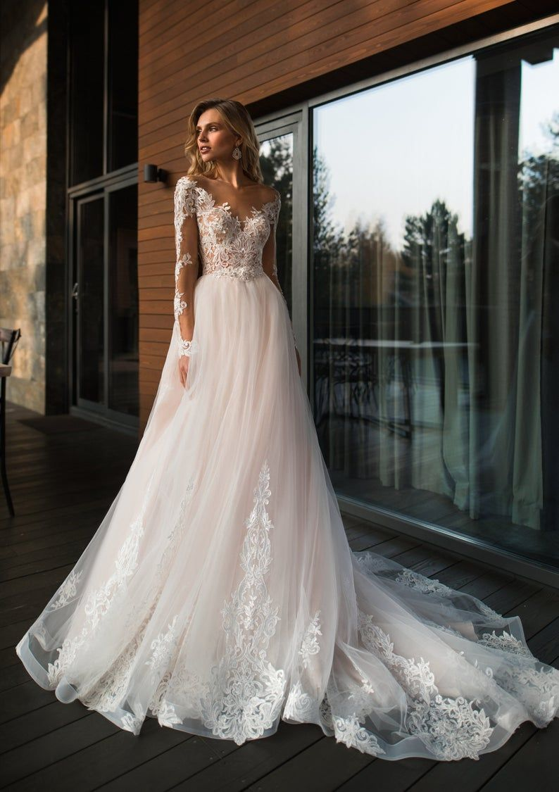 Bohemian Boho Long Sleeves Wedding Dress Ivory Blush Light Lace Beaded Tulle Skirt Train Modern Simple Sleeve Embroidered Illusion Buttons Light Pink Wedding Dress Wedding Dress Sleeves Pink Wedding Dresses [ 1125 x 794 Pixel ]
